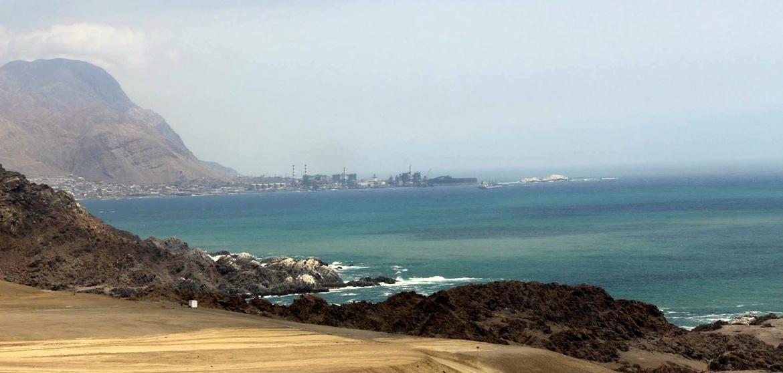 Vista do ocano pacífico na estrada para Iquique