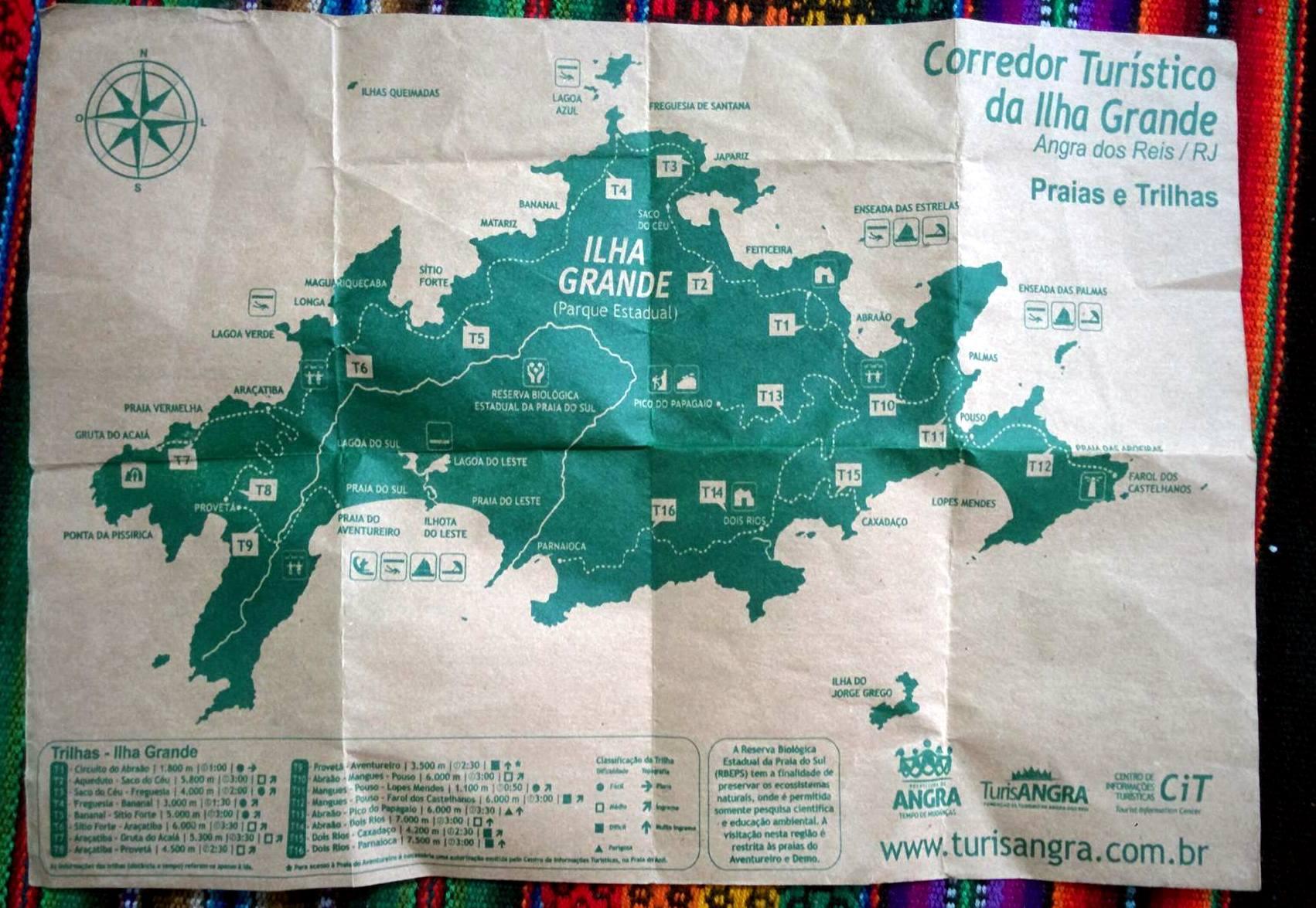 Mapa turístico da Ilha Grande