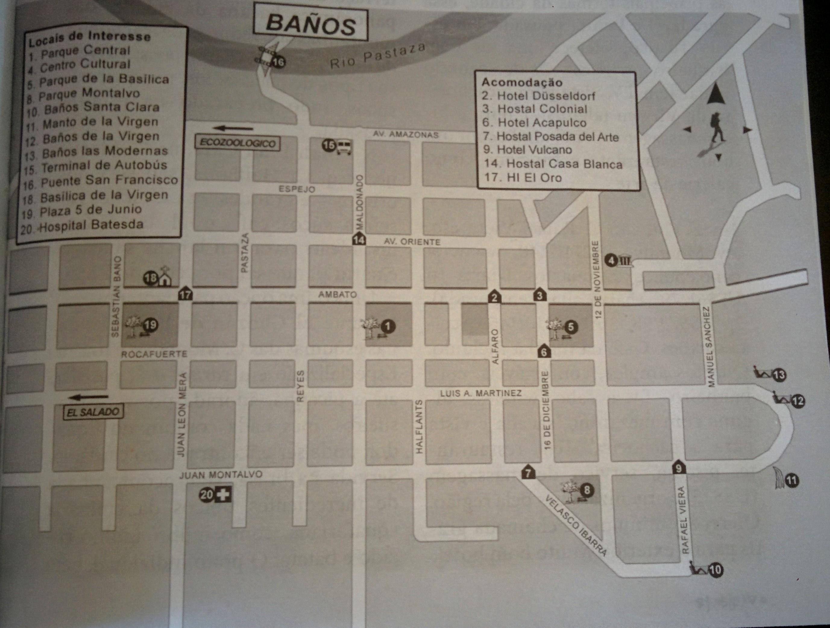 Mapa de Baños (retirado do livro Guia Criativo para o Viajante Independente)